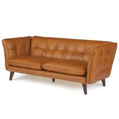 Effortlessly enhance the look of your living room or den with the Hip Vintage Kent Sofa. It features a rich brown finish with leather upholstery that will add a stylish and classy look to your home.