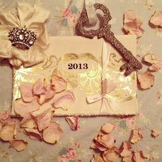 Unlock the door to a new year... #newyear #2013 #anastasia #calendar #crown #badge #glitter #sparkle #key #rose #petals #dried #pink #blue #rachelashwell #shabbychic #couture #ribbon #vintage #home #happy #life #blog