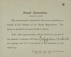 Postal censorship message 1916 IWM Documents.8252 - Defence of the Realm Act 1914 - Wikipedia, the free encyclopedia