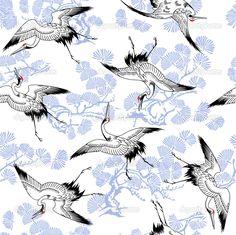 Японский журавль шаблон - Стоковая иллюстрация: 35822213