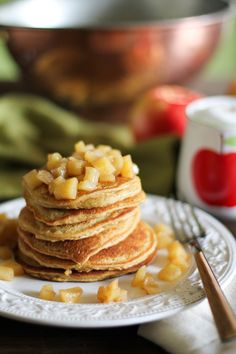 Gluten Free Apple Cinnamon Pancakes - - - > www.theroastedroot.net #glutenfree #paleo