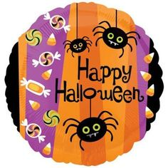 "Happy Halloween Spiders & Candy Corn 18"" Mylar Balloon"