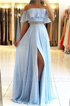 Simple light blue evening dresses from the shoulder Elegant chiffon evening dresses . Dresses Elegant, Pretty Prom Dresses, Prom Dresses Blue, Cheap Prom Dresses, Sexy Dresses, Summer Dresses, Fall Dresses, Wedding Dresses With Slit, Long Party Dresses