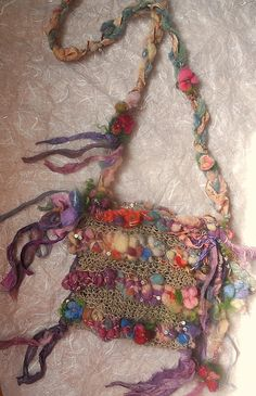 handknit  rustic hemp boho tote shoulder art bag by beautifulplace