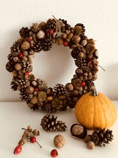 Autumn door decoration or table centerpiece. Handmade with love ❤️ #pinecone #art #decoration #centerpiece #table #door #autumn #autumndecor