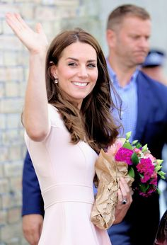 The  Duchess of Cambridge arrived to visit Truro Cathedral on September 1, 2016 in Truro, United Kingdom.