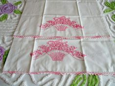 Vtg Pair of Embroidery & Crochet Basket of Pink Flowers Pillow Cases Excellent