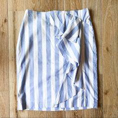 Banana Republic Skirts | Banana Republic Striped Ruffle Pencil Skirt | Poshmark Blossoms, Blue Stripes, Banana Republic, Pencil, Couture, Skirts, How To Wear, Outfits, Things To Sell