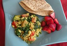 Spinach, Broccoli, and Tomato Scrambled Tofu