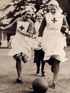 Nurses have a bit of fun, WWII.