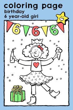 birthday 6 year-old girl, coloring pages, colouring picture, kids, invitations, celebrations • verjaardag meisje 6 jaar, kleurplaat, kleurprent, kinderen, uitnodigingen, kaarten, feesten • Geburtstag Mädchen 6 Jahre, Ausmalbilder, Malvorlagen, Kinder, Einladungen, Karten, Feste • anniversaire fillette de 6 ans, coloriage, enfants, invitations, cartes #freebie #ColoringPages #kleurplaat #Ausmalbilder #coloriage #kids #kinderen #Kinder #enfants #verjaardag #birthday #Geburtstag #anniversaire Birthday Coloring Pages, Easy Coloring Pages, Coloring Pages For Girls, Birthday Email, Girl Birthday, 6 Year Old, Educational Games, Spring Colors, Colorful Pictures