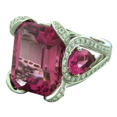 ASPREY Gold Pink Tourmaline Diamond Cocktail Ring