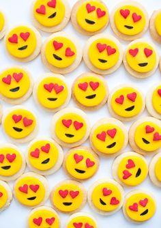 Emoji Party - Page 3 of 10 - Paige's Party Ideas Make Emoji, Emoji Craft, Emoji 2, Valentine's Day Quotes, Iced Cookies, Sugar Cookies, Emoji Food, 10th Birthday Parties, 7th Birthday