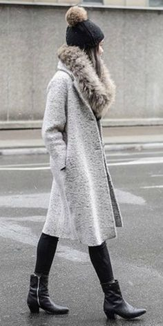 Victoria H + utterly elegant + faux fur stole + grey overcoat + glamorous + classic style + similar outfit + leather ankle boots + glammy vibes!   Hat: Rudsak.