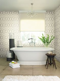 Dickinson Trellis Wallpaper in Taupe and Black design by York Wallcove   BURKE DECOR