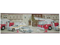 6051 Emergency Vehicle Wall Border Chicago Fire Department and Chicago Police Department gifts.