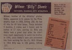 1955 Bowman #175 Billy Shantz Back