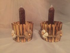 A personal favorite from my Etsy shop https://www.etsy.com/listing/250454124/2-rustic-candle-holders-with-primitive