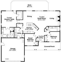 Open Concept Ranch House Plans   mud room   Free Bedroom    First Floor Plan of Cape Cod Contemporary Cottage Country Ranch House