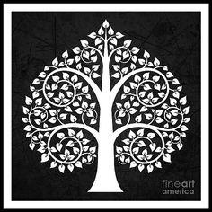 Bodhi Tree Digital Art - Golden Bodhi Tree by Bobbi Freelance Buddha Kunst, Buddha Art, Madhubani Art, Madhubani Painting, Bodhi Tree Tattoo, Worli Painting, Fine Art Amerika, Indian Folk Art, Indian Art Paintings