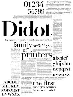 Didot Type Specimen Poster by Olivia Cruz, via Behance This design is like a paper article with very interesting layout. There is many contents to work with. Typo Poster, Poster Fonts, Typographic Poster, Typographic Design, Typography Layout, Typography Letters, Lettering, Graphic Design Typography, Design Graphique
