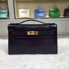 Brand: Hermes; Style: Mini Kelly Pochette; Material: lizardskin leather;Color: black;Size:22CM; Hardware: gold/silver; Accessories: Padlock and keys, dust bag.Function:clutchbag,wallet