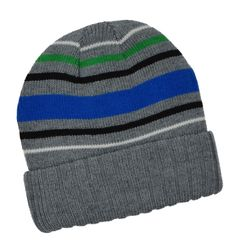 Winter Urban Pipeline Riversible Beanie Grey Blue Green Stripes