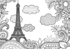 Illustration about Spring in Paris line art design for adult coloring book pages. Illustration of spring, coloring, eiffel - 87834729 Adult Coloring Book Pages, Coloring Books, Colouring, Torre Eiffel Vector, Tour Effel, Eiffel Tower Painting, Line Sketch, Printable Adult Coloring Pages, Mandala Art