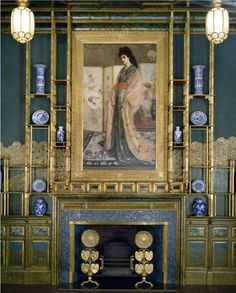 The Peacock Room by James McNeill Whistler at the Sackler-Freer Gallery with Thomas Jeckyll's sunflower andirons.