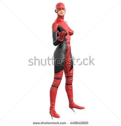 one tall woman in red black super suit. Posing standing sideways to camera with open hand. 3D rendering, 3D illustration - stock photo