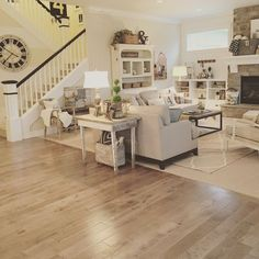 Relaxing, contemporary farmhouse living-room. Interior decoration by Janna Allbritton, Yellow Prairie Interior Design. Even more