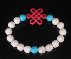 Turquoise Hot Pink Chinese Idea Knot & Blue White Ball Beads Mala Bracelet z2768