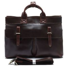Vintage style Leather Briefcase / Messenger Bag (P02)