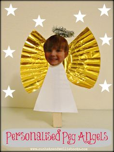 Personalised Peg Angels. Cute festive decorations, & neat small world play figures too!