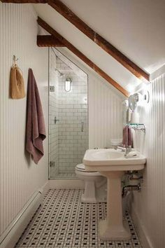 3 Miraculous Useful Ideas: Attic Exterior Lazy Sunday attic conversion door.Attic Insulation Old Houses attic renovation slanted ceiling. Loft Bathroom, Upstairs Bathrooms, Bathroom Small, Bathroom Ideas, Shower Ideas, Bathroom Designs, Master Bathroom, Bathroom Layout, Bathroom Remodeling