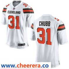 6d226f55394 Men's Cleveland Browns #31 Nick Chubb White Road Stitched NFL Nike Game  Jersey