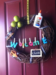 Teacher's wreath. $30.00, via Etsy. Buttt I think I can try to make this myself...maybe lol