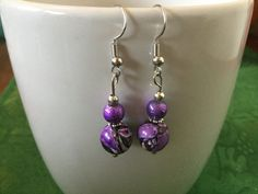 Handmade Beaded Earrings - Purple, Gray and White Marbled Stone Beads, Purple Shiny Beads, Silver Spacers by cemFLORAL on Etsy