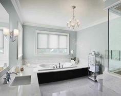 bathroom with chandelier | Chandelier bathroom | Dream House