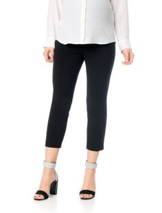 Motherhood Maternity Secret Fit Belly Bi-stretch Suiting Front Slash Pockets Maternity Crop Pants