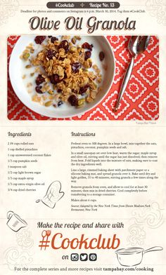 #CookClub recipe no. 13: Olive Oil Granola
