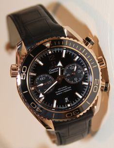 "Omega Rose Gold Seamaster Chronograph with ""Broad Arrows"" for hands."