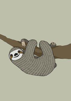 Hand drawn Sloth illustration A4 print by RatherLovelyStuff