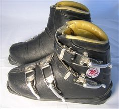Antique leather ski boots make a great addition to any ski lodge decor. Vintage Ski, Vintage Style, Vintage Fashion, Ski Lodge Decor, Ski Equipment, Alpine Skiing, Ski Boots, Vintage Children, Leather And Lace
