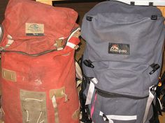 The classic Macpac Torre (original) and the wonderful Macpac Cascade (right). Both packs were constructed from canvas and were awsome.