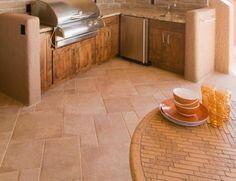 patterned kitchen flooring.