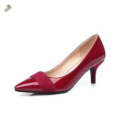 WeenFashion Women's Pull On Pointed Closed Toe Kitten Heels Patent Leather Solid Pumps Shoes, Claret, 41 for sale Court Shoes, Pump Shoes, Shoe Boots, Pumps, Latest Ladies Shoes, I See Red, Solange, Patent Leather, Kitten Heels