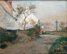 Frits Thaulow (Norwegian, 1847-1906),Le chemin de Piquigny. Oil on canvas, 38 x 46cm.
