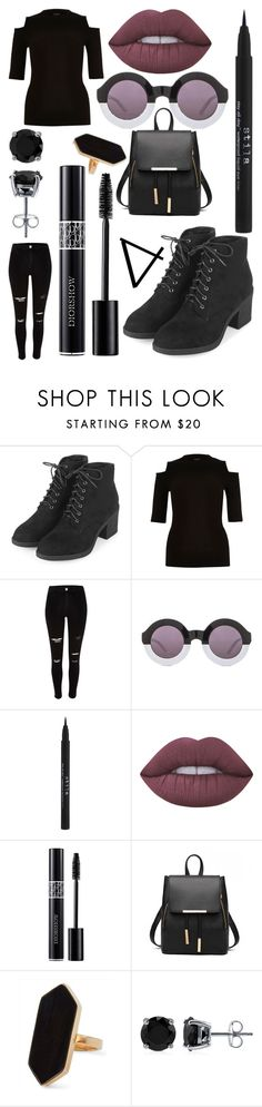 """""""Safiya from buzzfeed inspired outfit"""" by naumei on Polyvore featuring Topshop, River Island, Wildfox, Stila, Lime Crime, Christian Dior, Jaeger and BERRICLE"""