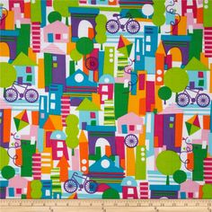 Michael Miller Happy Town Collage White from @fabricdotcom  Designed for Michael Miller Fabrics, this cotton print is perfect for quilting and craft projects as well as apparel and home décor accents. Colors include purple, pink, green, white, blue and yellow.